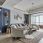 宝能城128平新美式,客厅风景独特,色彩随性灵动